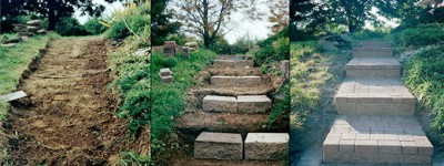 These block steps and paver brick walkway were built at a home in Bethlehem.