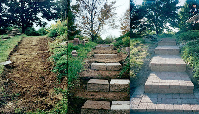 how to build brick steps on a slope